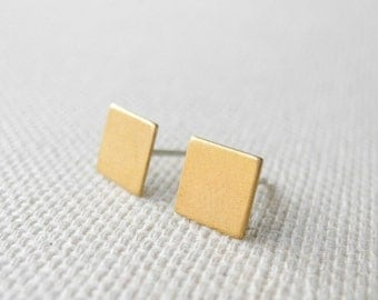 Square Stud Earrings,Brass Sterling Silver Earrings,Tiny Square Earrings,Geometric Jewelry,Sterling Silver Hypoallergenic Earrings (E173)
