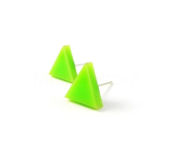 Lime Green Stud Earrings,Neon Earrings,Triangle Earrings,Geometric Neon Jewelry,Triangle Earrings (E087)
