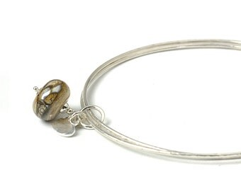 Golden Brown Charm Bangles | Slim Sterling Silver Bangles with Lampwork Glass and Fine Silver Charms | Marbled Bronze Stacking Bangles | UK