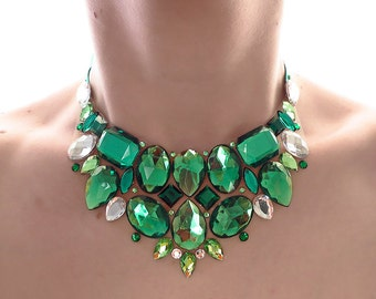 Green Rhinestone Bib Necklace, Green Statement Necklace, Bridesmaid Gift, Green Bridesmaid Necklace, Green Rhinestone Necklace