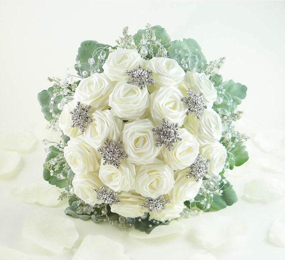 Wedding Bouquet Crystal Flowers: Ice Crystal Wedding Bouquet Origami Bridal By TheWhiteBouquet