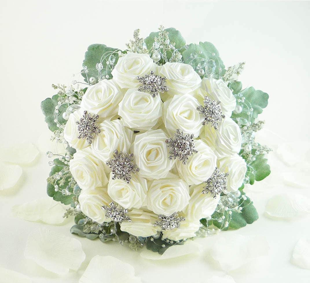 Wedding Bouquet Crystal Flowers: Ice Crystal Wedding Bouquet Bridal Bouquet Winter