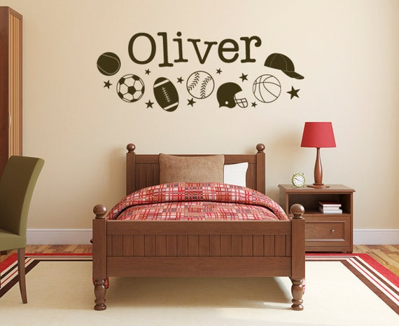 Wall Decal - Boys Sports Name Decal  DB241