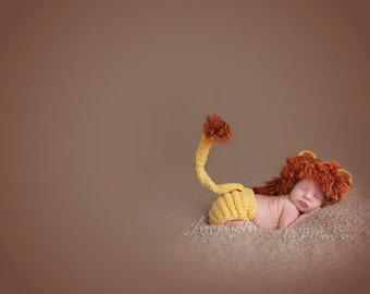 Lion Earflap Hat and Adjustable Diaper Cover Gift Set - newborn to 6 mo sizes - Photography Prop - Made To Order