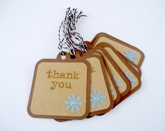 Rustic Thank You Tags, Party Favor Tags, Wedding Favor Tags, Daisy Kraft Tags, Flower Tags, Blue & Brown, Hand Stamped, Set of 10