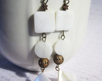 "Earrings - White Shell - Copper - Romantic - OOAK - ""Somebody's Calling Me"""