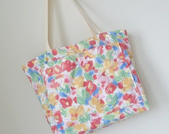 Large Tote - Floral Multicolor - Hand Made - Cotton - Colorful - Bermuda Pattern - Spring Flowers - Shoulder Straps - Beach - UNIQUE