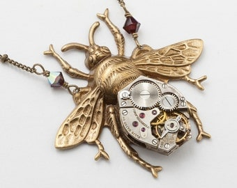 Steampunk Necklace, Bumble Bee Necklace with Vintage Watch Movement, Red Ruby Swarovski Crystal & Gold Beaded Chain, Steampunk Jewelry Gift