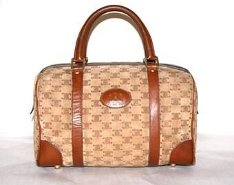 CELINE Vintage Speedy Bag Tan Suede Monogrammed Brown Leather Large Doctor's Bag - AUTHENTIC -
