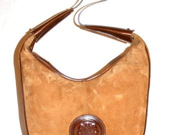 FENDI Vintage Oversized Handbag Ribbed Suede Brown Leather Janus Medallion Hobo Tote - AUTHENTIC -