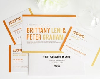Orange Wedding Invitation, Modern Wedding Invitation, Wedding Invites - Modern Stack Wedding Invitation - Sample Set