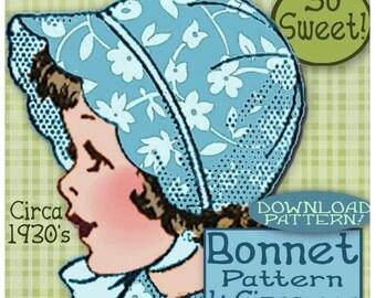 SCALLOPED BRIM Bonnet  4 sizes So Sweet Child Girl Toddler Baby  Fabric or Felt  Vintage 1930 e-pattern pdf