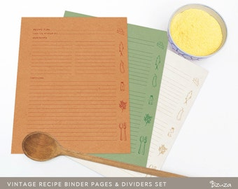 Printable Recipe Binder Pages, Vintage Look, 36 Editable PDF Files, Instant Download