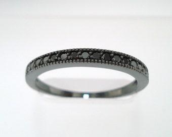 Black Diamonds Wedding Band, Half Eternity Ring, Anniversary Ring, Vintage Style 14K Black Gold  Handmade Stackable 0.18 Carat