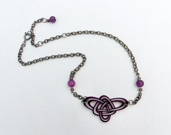 Celtic Knot Necklace - Purple - Choker - Triple Knot - Unique Celtic Pendant Laser Cut Original Drawing by Laura Cesari & Jeremy Richardson