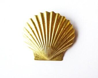Gold Shell Barrette Mermaid Hair Clip Seashell Nautical Bride Bridal Bridesmaid Ariel Beach Wedding Accessories Womens Gift For Her Summer
