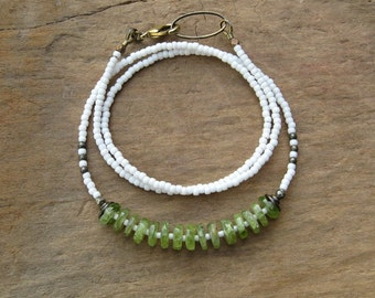 Modern Green Peridot Necklace, rustic white and green beaded Bohemian tribal style August birthstone jewelry