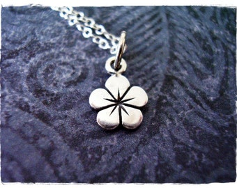 Tiny Petunia Flower Necklace - Sterling Silver Petunia Flower Charm on a Delicate Sterling Silver Cable Chain or Charm Only