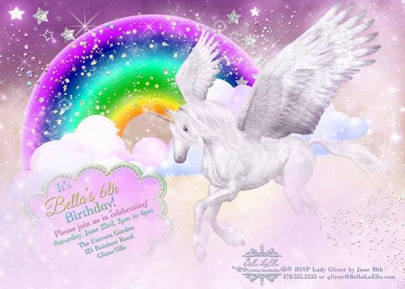 Invitation fête Licorne avec arc en ciel fée Licorne fête