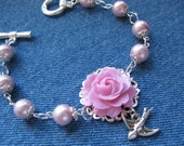 SET - Pink Pearl Bracelet with Pink Rose and Bird - Matching Earrings