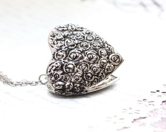 Large Heart Locket Necklace Antique Silver Layering Long Necklace Floral Locket Pendant Vintage Style Picture Locket Secret Hiding Place