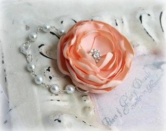Bridal Jewelry Bracelet  - Peach Flower Corsage Bracelet - Bridesmaids Gifts - Unique Statement Jewelry - Spring Summer Wedding