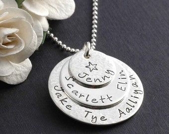 Mother's Day Jewelry, Necklace for Mom, Hand Stamped Necklace - Triple Stacked - Sterling Silver - Personalized Necklace