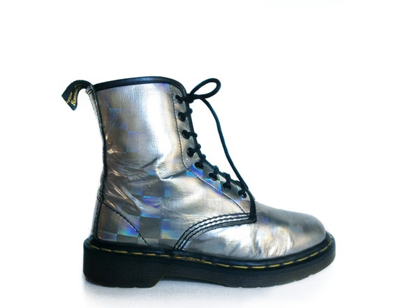 90's Rainbow Holographic Dr. Martens Lace Up Boots // 6.5 - 7