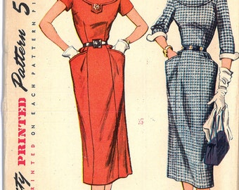 8406 UNCUT 1950's Women's Dress Vintage Sewing Pattern Simplicity 8406 Bust 36