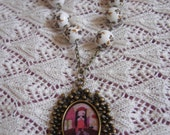 The Fortune Teller - Mixed media art illustrated beaded and chained necklace/pendant by a Pink Dreamer
