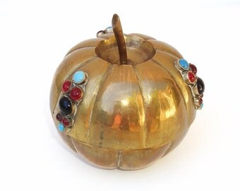 Vintage Brass Pumpkin Jeweled Box Metal Storage Container Trinket Box Turquoise Red Black Melon Shaped