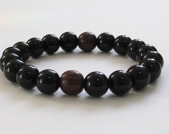 Men Beaded Bracelet, Onyx Rosewood Yoga Mala Beads, Chakra Bracelet, Wood Bracelet Father Day Boyfriend Gift for him, Meditation Worry Beads