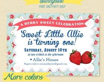 Berry Sweet Birthday Party Invitation / Farmers Market Birthday Invite  - Girls Strawberry birthday party printable, berry theme