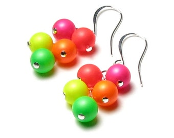 Neon Swarovski Crystal Pearl Cluster Silver Dangle Earrings, Neon Pink, Neon Orange, Neon Yellow, Neon Green, Retro Summer Jewelry For Women