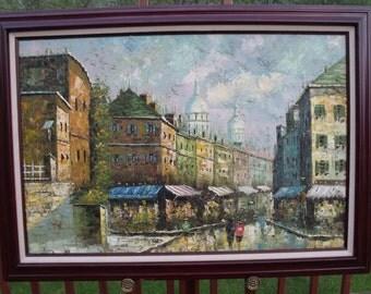 Sale 20 century Large Vintage Oil Painting PARIS Parisian street Signed Circa 60's.oil on canvas. France.Paris.Home decor.Wall hanging. Gift