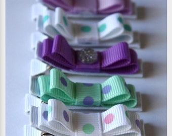 Belle's Bows hair bows.Set of five girls hair clips.Non slip bows.Purple,Lilac,Mint and aqua.Purple and mint.Girls Birthday gift.Pretty bows