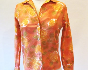 Vintage 60s Shirt, Cotton Orange Blouse, Long Sleeve Button Down Shirt