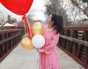 Ruby Red Heart Tassel Balloon