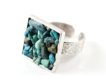 Sterling silver turquoise ring, gemstone jewelry, genuine turquoise ring silver adjustable ring square stone ring blue southwestern style
