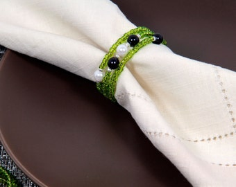 Beaded Napkin Rings Set of Four in Green Black and White