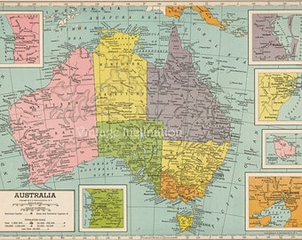 Australia 1940s vintage antique map, educational atlas map, travel wall decor
