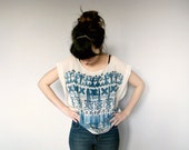 Pastel Geometric Sheer Blouse - Ivory Chiffon Oversized Tunic Top Ombre Blue Print Inverted Cross Hippie Boho Gypsy Inspired Tee Shirt