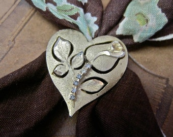 Vintage Scarf Clip Heart with Rosebud Cutout Rhinestone Sparkle Clip On Brooch Romantic Flower Rose Floral
