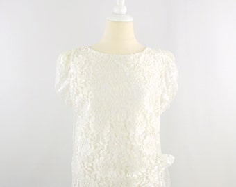 On Sale Vintage White Lace Wedding Party Dress - 80s does 20s Gatsby Style - Medium Large