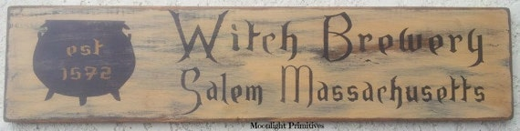 Salem, Witch Brewery, Halloween, Witch, Wooden Signs, Halloween, Wicca, Rustic, Primitive, Distressed Signs