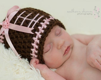 Light Pink Football Hat, Baby Hat, Toddler Hat, Newborn Hat, Flower Hat, Baby Beanie, Toddler Beanie, Crochet Baby Hat, Baby Girl Hat