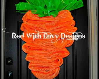 Large Version, The Original Carrot Wreath for Easter, Easter Wreath, Carrot Wreath, Carrot, Wreath, Deco Mesh Wreath, Mesh Wreath