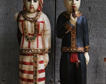 pair of vintage carved wood figures made in India - a couple going to market