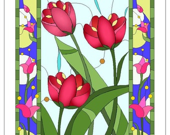 Stained Glass Tulips - Mother's Day, Birthday, Anniversary, Any Day, Thank you
