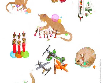 Kids wall decal : the cat - kids wall art - children wall decals - illustration for kid